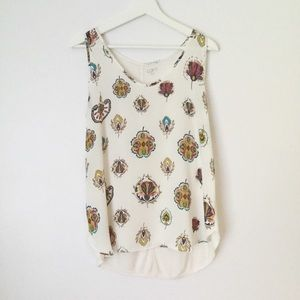 LOFT Off White Printed Tank Top